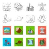 加拿大冷杉、海狸和加拿大的其他标志 在概述, flet样式传染媒介标志股票的加拿大集合汇集象 库存图片