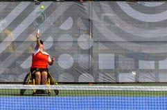 加拿大对荷兰轮椅网球 免版税库存照片