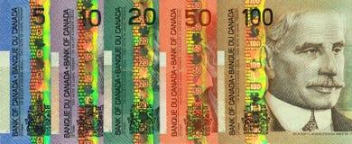 加拿大当前货币纸张集 免版税库存照片