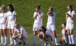 加拿大戏曲现有量拿着足球妇女 免版税库存照片