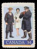 加拿大打印的邮票,展示1910年炮兵` s伙伴,二战官员 图库摄影