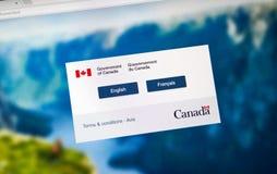 加拿大政府正式网页  图库摄影