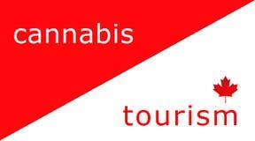 加拿大旅游业的红色和白色例证与大麻在视线内 库存例证