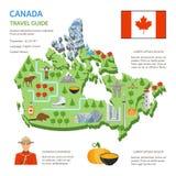 加拿大旅行指南地平线平的地图海报 向量例证