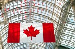 加拿大旗子和玻璃屋顶在背景中 库存图片