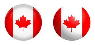 加拿大旗子在3d圆顶按钮下和在光滑的球形/球 库存例证