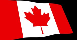 加拿大旗子缓慢挥动在透视,动画4K英尺长度 库存例证