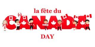 加拿大日海报 传染媒介例证与孩子的贺卡 法国文本:加拿大日 库存例证