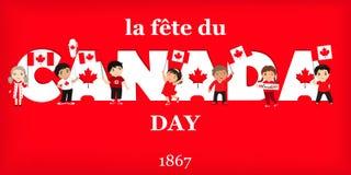 加拿大日海报 传染媒介例证与孩子的贺卡 法国文本:加拿大日 皇族释放例证