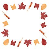 加拿大日 槭树、气球、爆竹和旗子红黄色叶子方形的框架在白色背景 皇族释放例证
