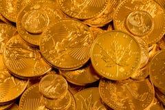 加拿大枫叶罚款金子一枚盎司硬币 免版税库存图片