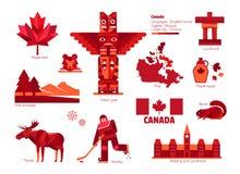 加拿大标志和标志,信息图表元素 免版税图库摄影
