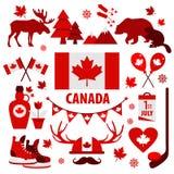 加拿大标志和标志,被设置的信息图表元素平的象 皇族释放例证