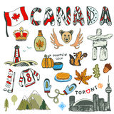 加拿大标志的剪影手拉的收藏 加拿大文化速写了集合 传染媒介与乱画letterin的旅行例证 库存照片