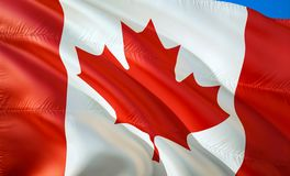 加拿大标志 3D挥动的旗子设计 加拿大的国家标志,3D翻译 加拿大背景的国家标志 免版税库存照片