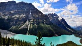 加拿大湖岩石山的peyto 图库摄影