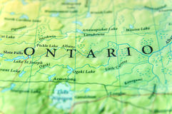 加拿大状态安大略地理地图与重要城市的 图库摄影