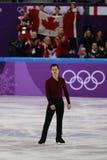 加拿大的奥林匹克冠军陈伟群在队事件单打运动员滑冰执行任意滑冰在2018个冬季奥运会 库存图片