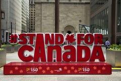 150加拿大的庆祝的红色标志 库存图片