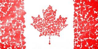 加拿大的旗子从飞溅红槭叶子创造了 免版税库存照片