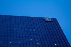 加拿大皇家银行RBC的总部在多伦多,安大略,有公司的被阐明的商标的加拿大 免版税库存图片