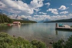 加拿大碧玉湖maligne国家公园 图库摄影