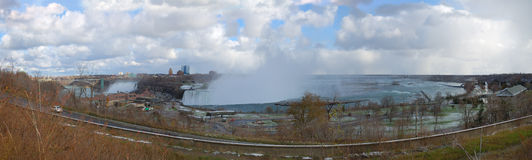 加拿大秋天尼亚加拉全景 免版税图库摄影