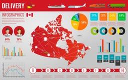 加拿大运输和后勤学 交付和运输的infographic元素 向量 向量例证
