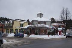 加拿大,街道场面在魁北克的省的一个村庄 库存图片