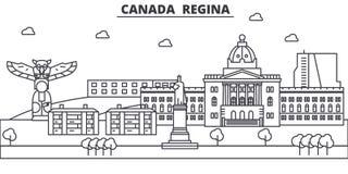 加拿大,雷日纳建筑学线地平线例证 与著名地标的线性传染媒介都市风景,城市视域 免版税库存照片