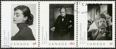 加拿大- 2008年:展示奥黛丽・赫本1929-1993,尤瑟夫・卡希温斯顿・丘吉尔先生1874-1965和自画象1908-2002 库存照片