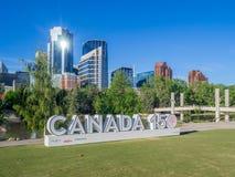 加拿大150庆祝标志 免版税库存照片