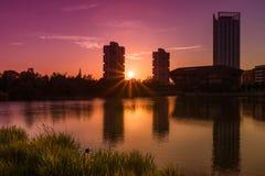加拿大水,都市风景伦敦英国 图库摄影