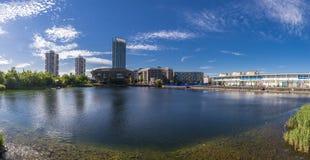 加拿大水,都市风景伦敦英国 免版税库存图片