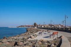 更加接近老镇Nessebar的海边 库存照片