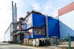加油站在圣彼德堡、独立气体发电器和锅炉室在一个地方 免版税库存照片