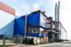加油站在圣彼德堡、独立气体发电器和锅炉室在一个地方a 库存照片