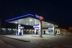 加油站在晚上 免版税库存照片