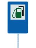 加油站路标,绿色能量概念汽油燃料填装的交通服务路旁标志,被隔绝的蓝色汽油汽油箱 库存图片