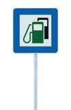 加油站路标,绿色能量概念,汽油燃料填装的交通服务路旁标志被隔绝的蓝色汽油汽油箱 库存照片