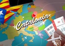 加泰罗尼亚旅行概念与飞机,票的地图背景 vi 皇族释放例证