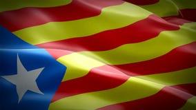 加泰罗尼亚旗子挥动在风加泰罗尼亚语的波浪圈 r 加泰罗尼亚旗子特写镜头1080p充分的HD 1920X10 皇族释放例证