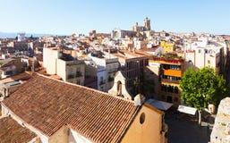加泰罗尼亚的城市顶视图有大教堂的 塔拉贡纳 库存照片