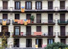 加泰罗尼亚的抗议-巴塞罗那,西班牙 图库摄影