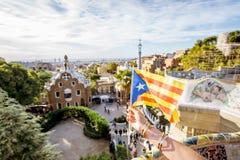 加泰罗尼亚的旗子在巴塞罗那 免版税库存照片