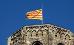 加泰罗尼亚的旗子在巴塞罗那 免版税库存图片
