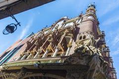 加泰罗尼亚的音乐宫殿(帕劳de la musica catalana),巴塞罗那 免版税库存照片