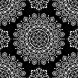 加点与坛场的绘的单色传染媒介无缝的样式,澳大利亚种族设计,在白色的原史光点图形 库存照片