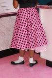 加点的桃红色短上衣长卷毛狗裙子 图库摄影