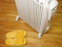 加热器油长毛绒拖鞋 库存图片